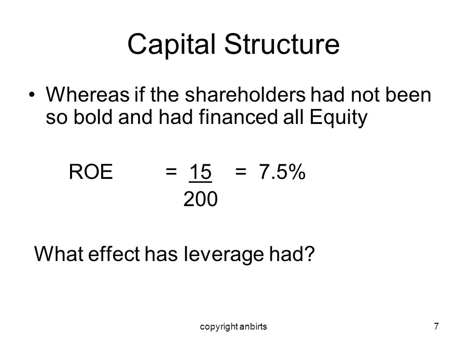 copyright anbirts8 Capital Structure Results Range of ROEs % Leveraged 20 - 5 Un-leveraged 15 – 7.5 What effect will this have on expected/required equity returns?