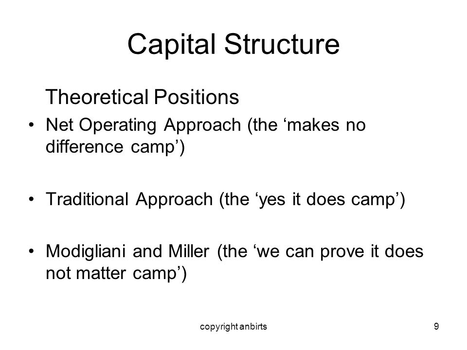 copyright anbirts9 Capital Structure Theoretical Positions Net Operating Approach (the makes no difference camp) Traditional Approach (the yes it does