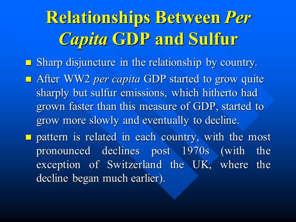 Relationships Between Per Capita GDP and Sulfur Sharp disjuncture in the relationship by country. Sharp disjuncture in the relationship by country. Af
