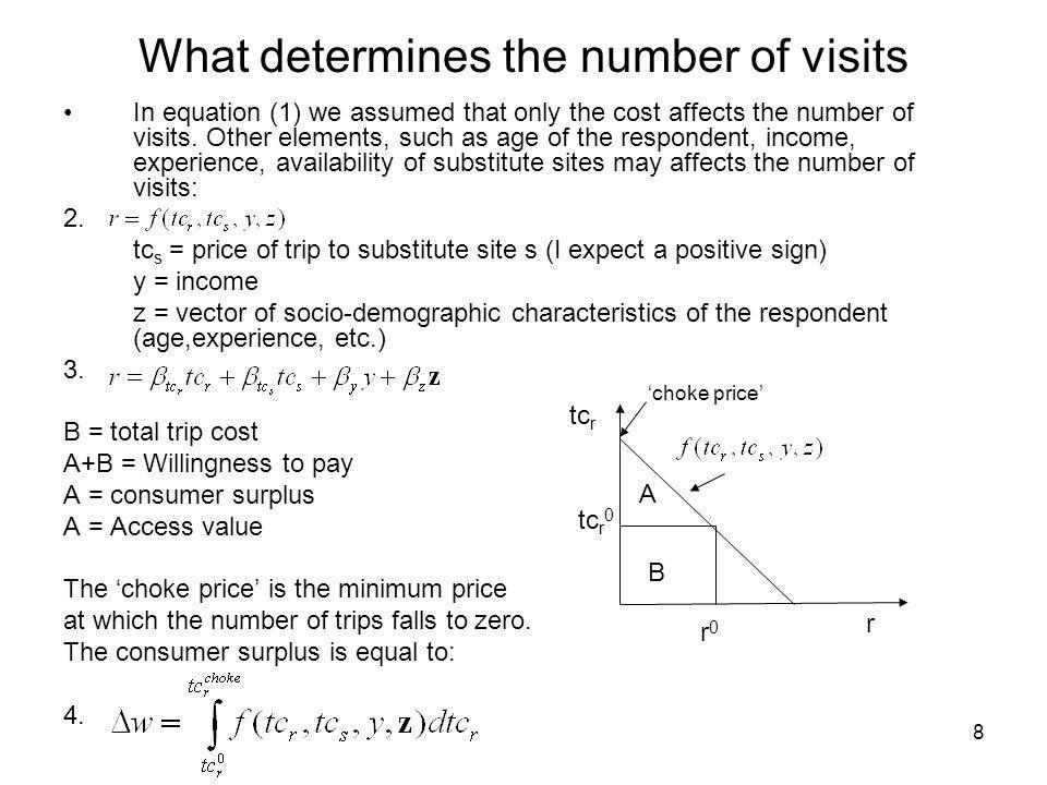 8 What determines the number of visits In equation (1) we assumed that only the cost affects the number of visits. Other elements, such as age of the