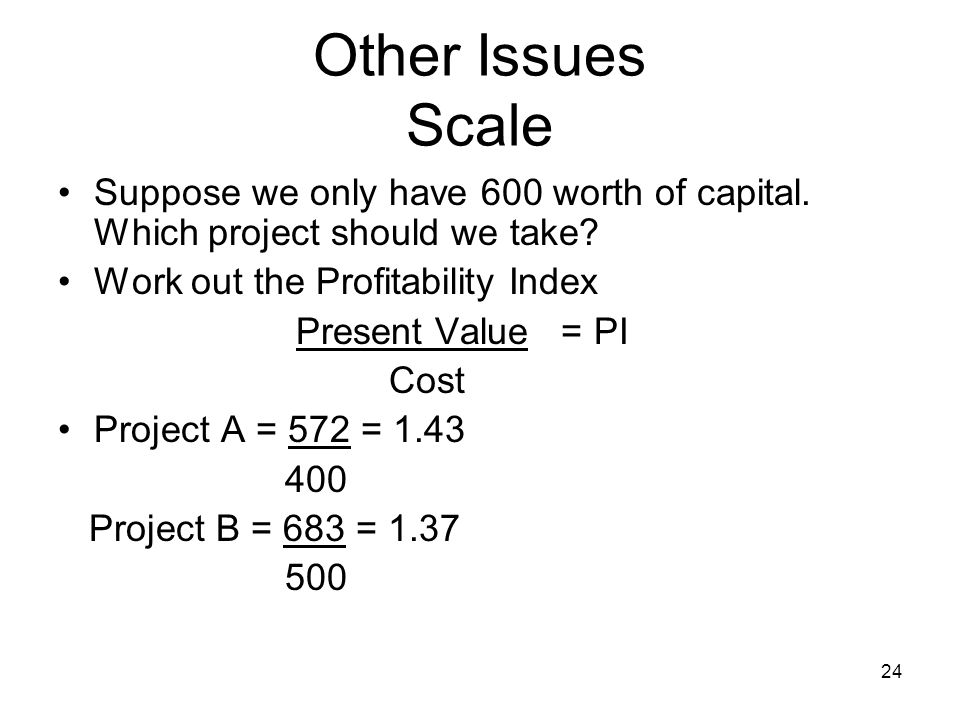 24 Other Issues Scale Suppose we only have 600 worth of capital.