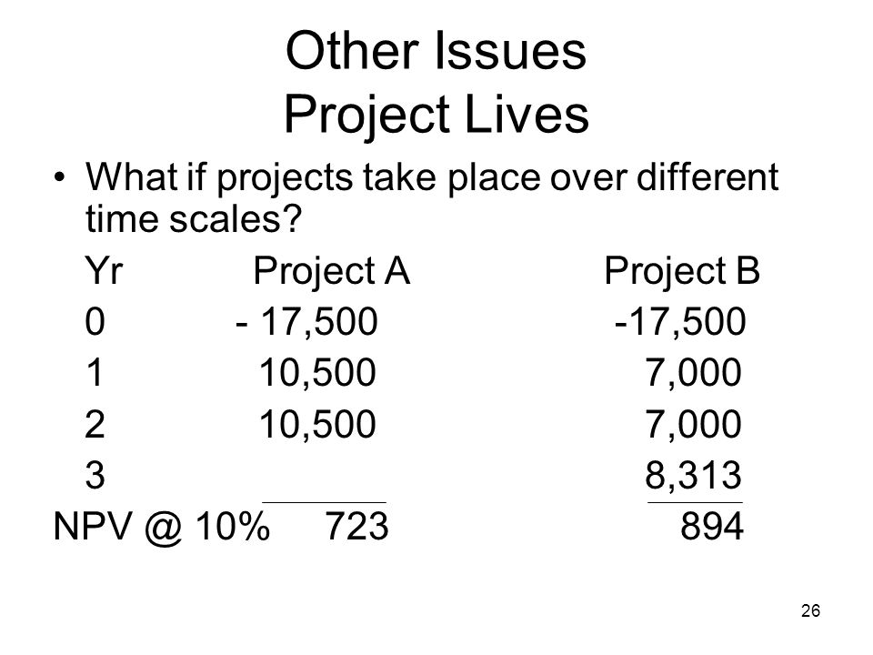 26 Other Issues Project Lives What if projects take place over different time scales.