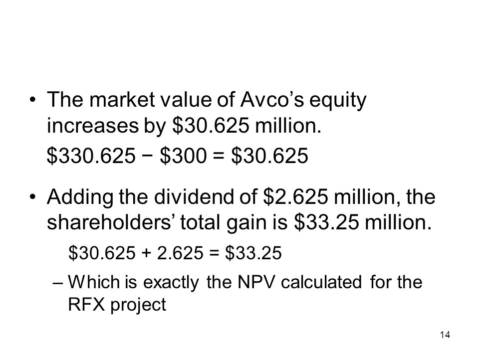 14 The market value of Avcos equity increases by $30.625 million. $330.625 $300 = $30.625 Adding the dividend of $2.625 million, the shareholders tota