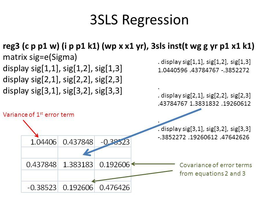 3SLS Regression reg3 (c p p1 w) (i p p1 k1) (wp x x1 yr), 3sls inst(t wg g yr p1 x1 k1) matrix sig=e(Sigma) display sig[1,1], sig[1,2], sig[1,3] displ