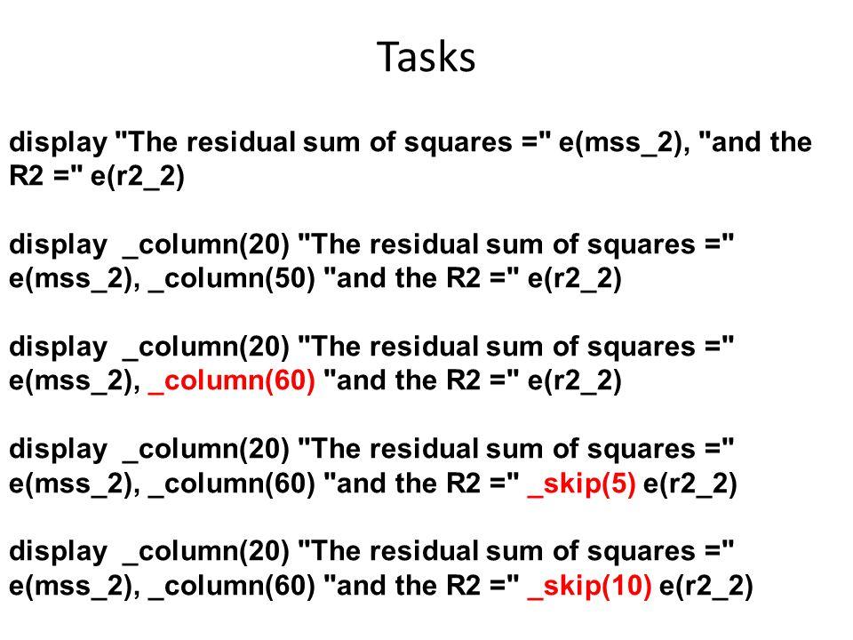 Tasks display