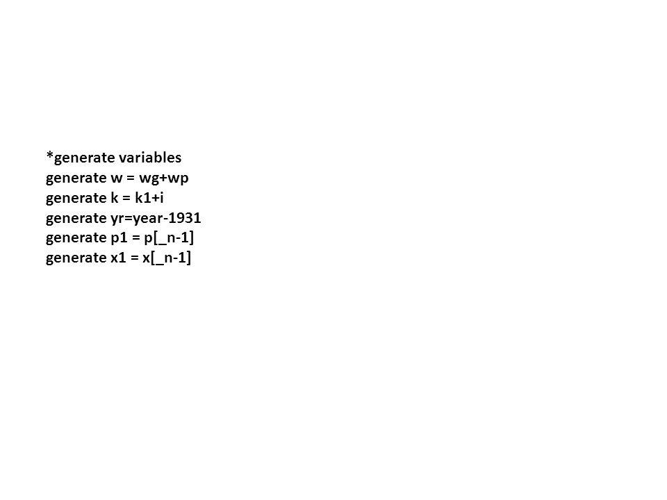 *generate variables generate w = wg+wp generate k = k1+i generate yr=year-1931 generate p1 = p[_n-1] generate x1 = x[_n-1]