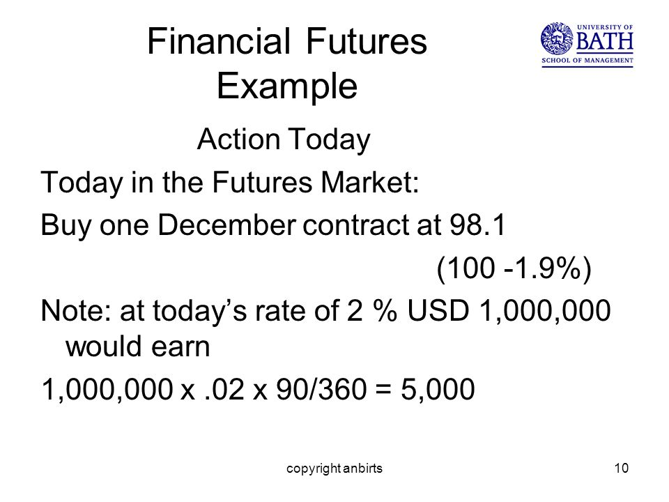 copyright anbirts10 Financial Futures Example Action Today Today in the Futures Market: Buy one December contract at 98.1 (100 -1.9%) Note: at todays rate of 2 % USD 1,000,000 would earn 1,000,000 x.02 x 90/360 = 5,000