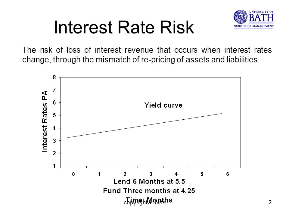 copyright anbirts2 Interest Rate Risk The risk of loss of interest revenue that occurs when interest rates change, through the mismatch of re-pricing of assets and liabilities.