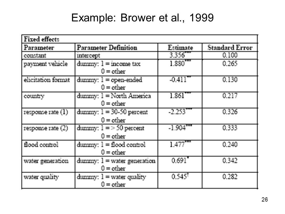 26 Example: Brower et al., 1999