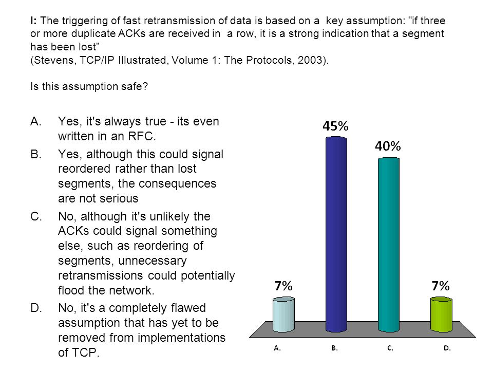 I: The triggering of fast retransmission of data is based on a key assumption: