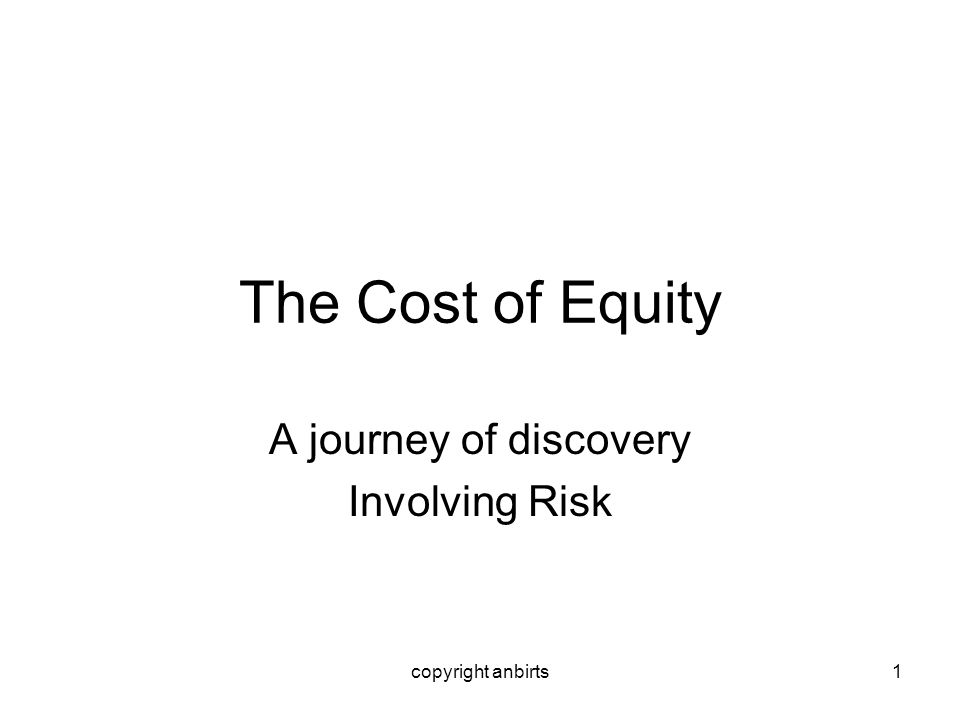 copyright anbirts1 The Cost of Equity A journey of discovery Involving Risk