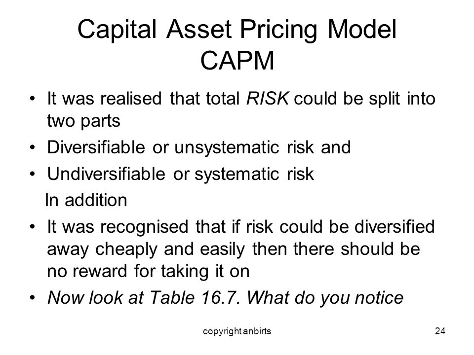 copyright anbirts24 Capital Asset Pricing Model CAPM It was realised that total RISK could be split into two parts Diversifiable or unsystematic risk
