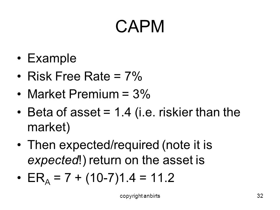 copyright anbirts32 CAPM Example Risk Free Rate = 7% Market Premium = 3% Beta of asset = 1.4 (i.e. riskier than the market) Then expected/required (no