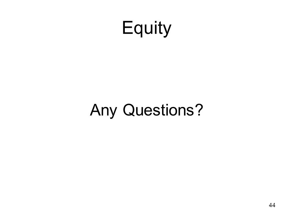 44 Equity Any Questions?