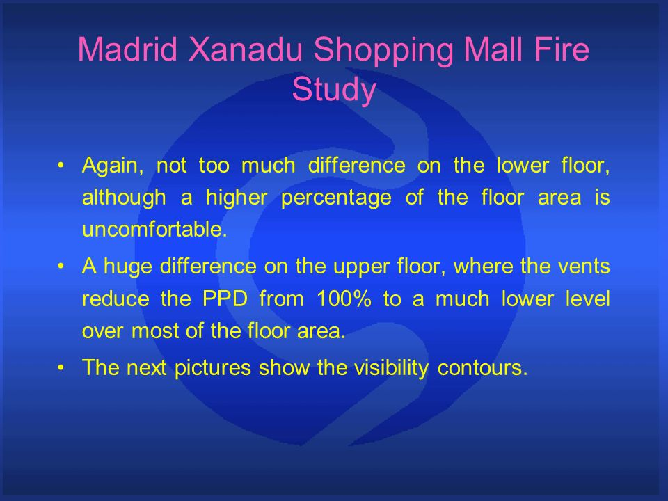 Madrid Xanadu Shopping Mall Fire Study Again, not too much difference on the lower floor, although a higher percentage of the floor area is uncomfortable.