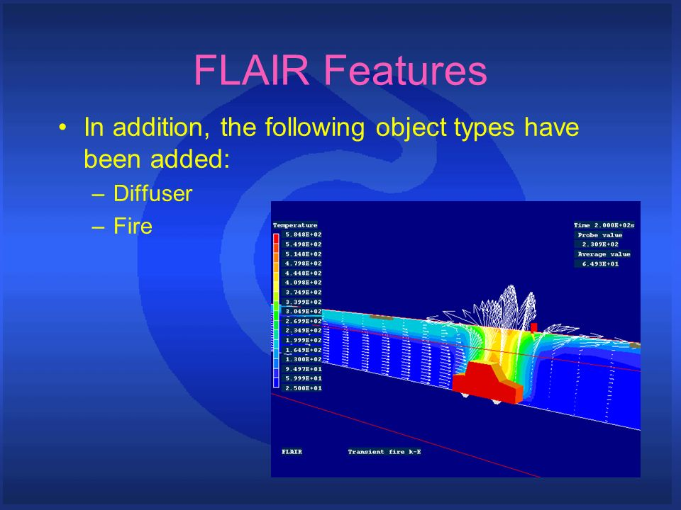 FLAIR Features In addition, the following object types have been added: –Diffuser –Fire