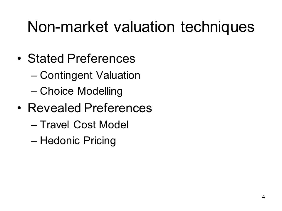 5 The Contingent Valuation Method Stated preference technique Questionnaire based Direct method Valuation of a hypothetical scenario -It is called contingent valuation because the valuation is contingent on the hypothetical scenario put to respondents Non Use Values + Use Values Willingness To Pay (WTP) question