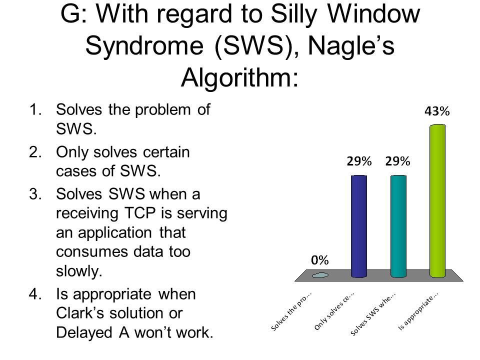 G: With regard to Silly Window Syndrome (SWS), Nagles Algorithm: 1.Solves the problem of SWS. 2.Only solves certain cases of SWS. 3.Solves SWS when a