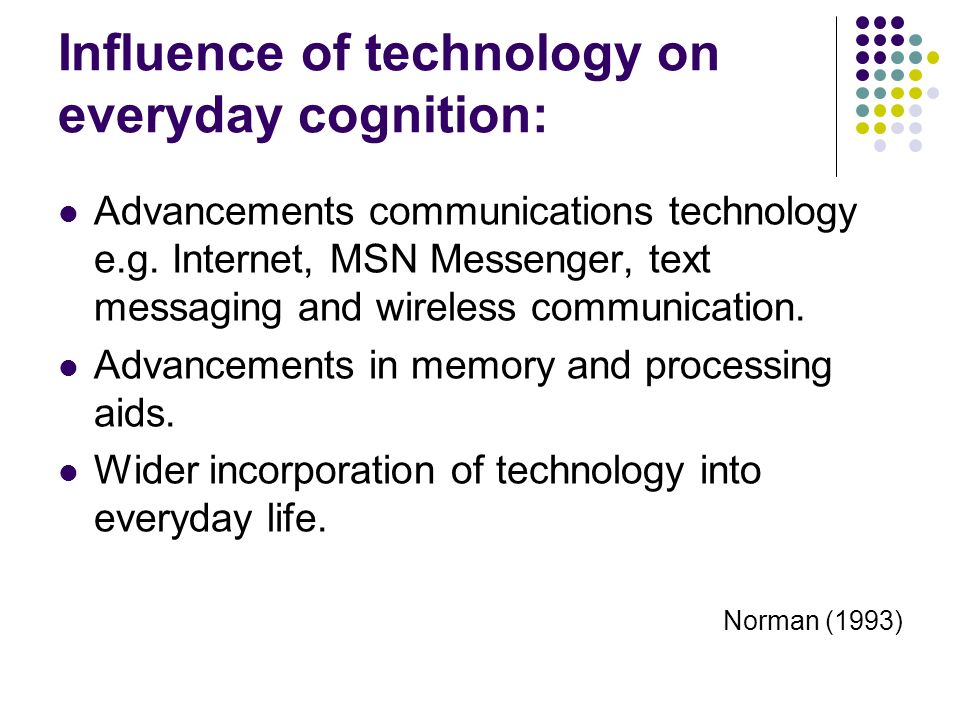Influence of technology on everyday cognition: Advancements communications technology e.g. Internet, MSN Messenger, text messaging and wireless commun