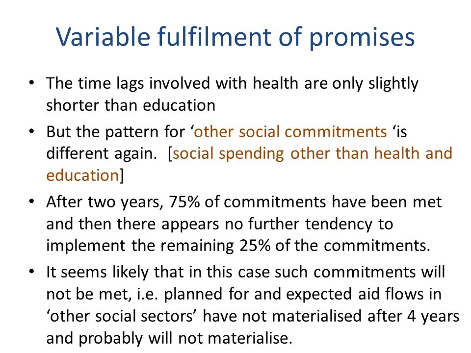Variable fulfilment of promises The time lags involved with health are only slightly shorter than education But the pattern for other social commitments is different again.