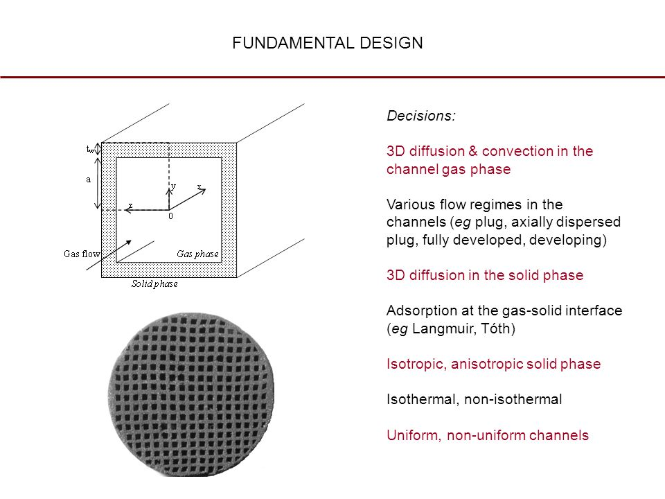 FUNDAMENTAL DESIGN Decisions: 3D diffusion & convection in the channel gas phase Various flow regimes in the channels (eg plug, axially dispersed plug