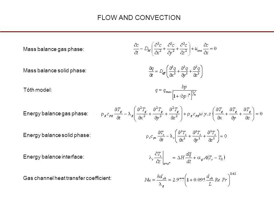 FLOW AND CONVECTION Mass balance gas phase: Mass balance solid phase: Tóth model: Energy balance gas phase: Energy balance solid phase: Energy balance interface: Gas channel heat transfer coefficient: