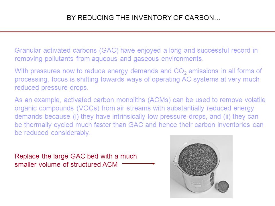 Granular activated carbons (GAC) have enjoyed a long and successful record in removing pollutants from aqueous and gaseous environments. With pressure