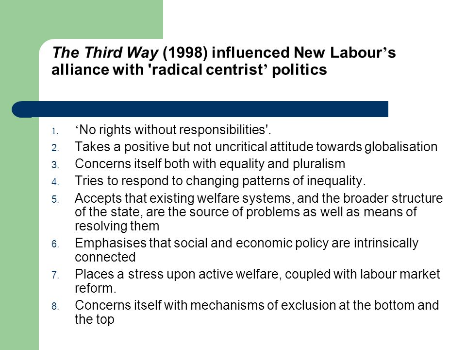 The Third Way (1998) influenced New Labour s alliance with 'radical centrist politics 1. No rights without responsibilities'. 2. Takes a positive but