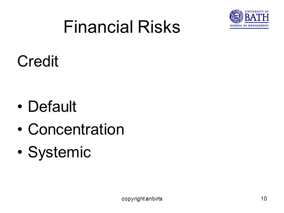 copyright anbirts10 Financial Risks Credit Default Concentration Systemic