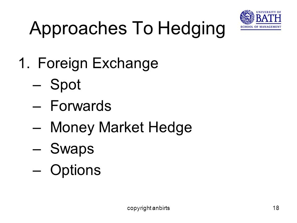 copyright anbirts18 Approaches To Hedging 1.Foreign Exchange –Spot –Forwards –Money Market Hedge –Swaps –Options