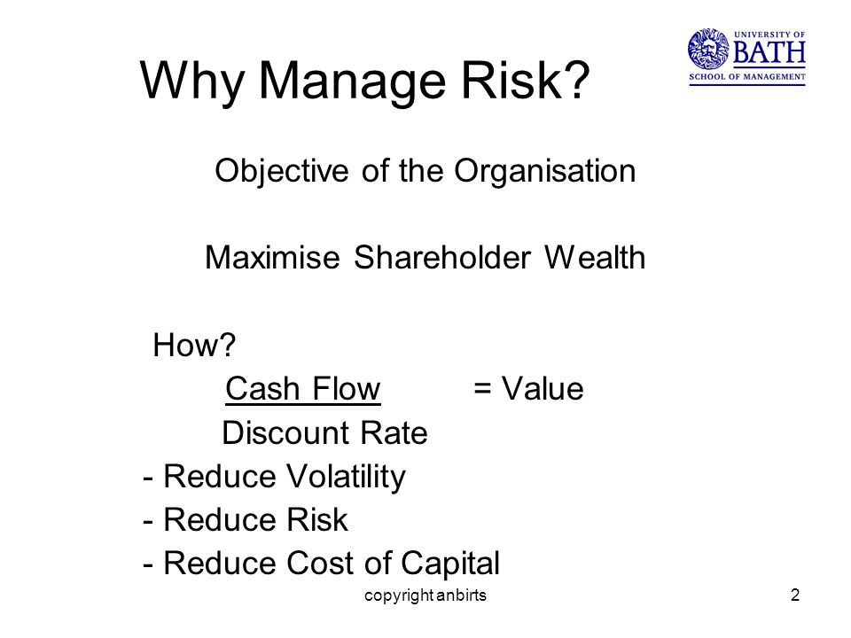 copyright anbirts2 Why Manage Risk? Objective of the Organisation Maximise Shareholder Wealth How? Cash Flow = Value Discount Rate - Reduce Volatility