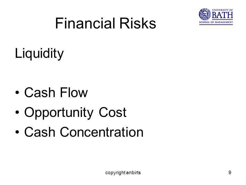 copyright anbirts9 Financial Risks Liquidity Cash Flow Opportunity Cost Cash Concentration