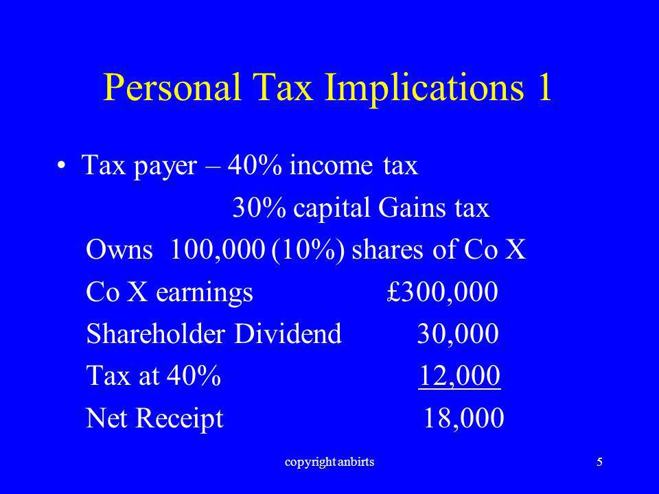 copyright anbirts5 Personal Tax Implications 1 Tax payer – 40% income tax 30% capital Gains tax Owns 100,000 (10%) shares of Co X Co X earnings £300,000 Shareholder Dividend 30,000 Tax at 40% 12,000 Net Receipt 18,000