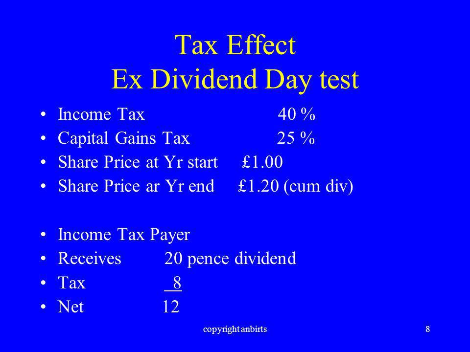 copyright anbirts9 Tax Effect Ex Dividend Day Test Capital Gains Tax Payer would be willing to pay £1.04 at the start of the period to obtain the same result Start Price £1.04 End Price £1.20 Capital Gain 16 Tax @ 25 % 4 Net 12