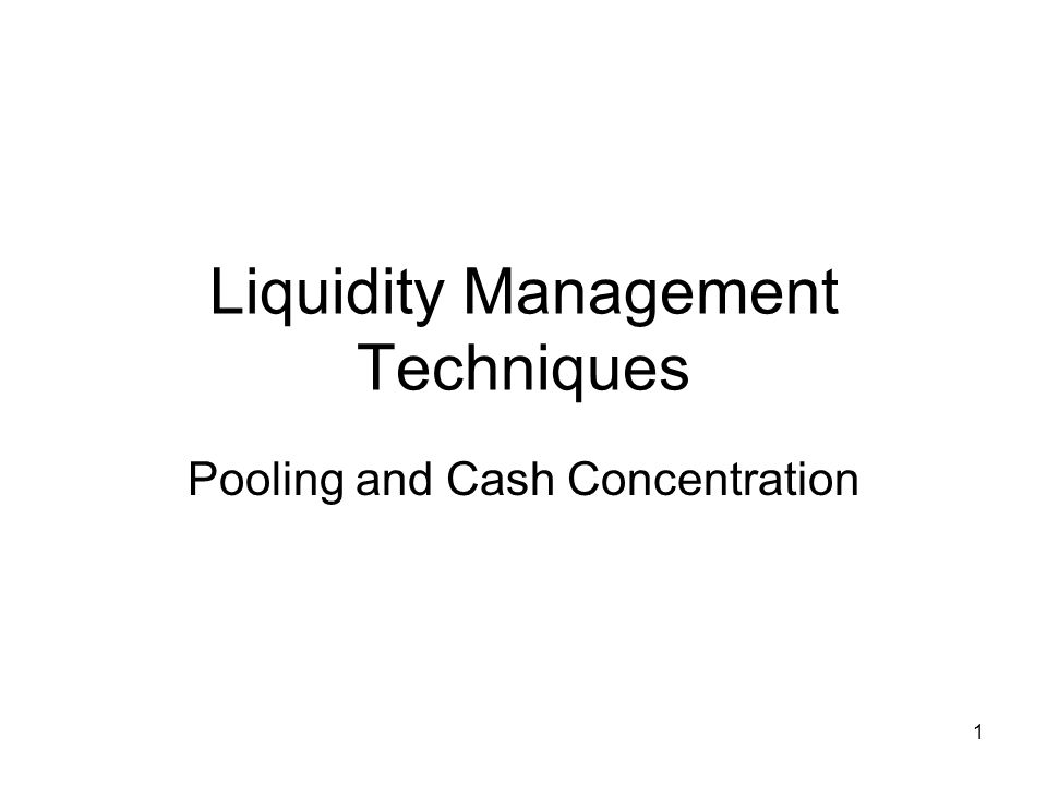 22 Cash concentration Sometimes Notional Pooling is not possible or not wanted –Rules and regulations –Structure of banking industry –Legal issues Then we may have to cash concentrate i.e.