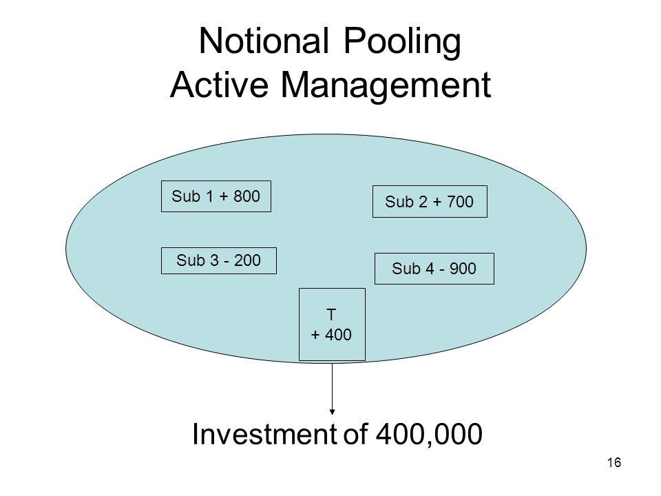 16 Notional Pooling Active Management Investment of 400,000 Sub 1 + 800 Sub 2 + 700 Sub 3 - 200 Sub 4 - 900 T + 400