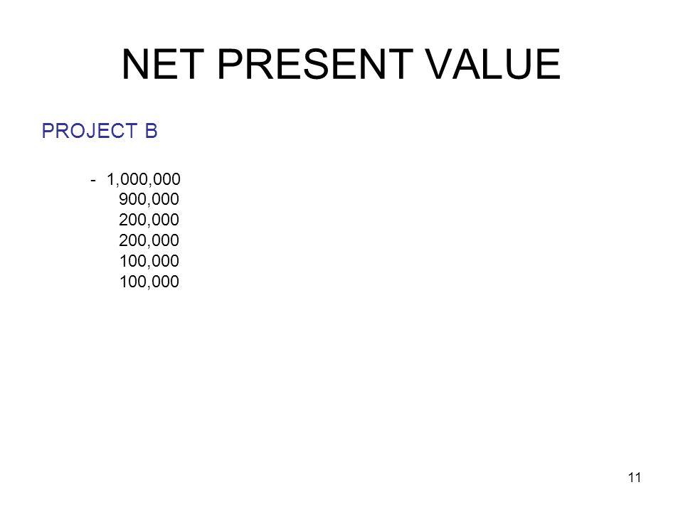 11 NET PRESENT VALUE PROJECT B - 1,000,000 900,000 200,000 100,000