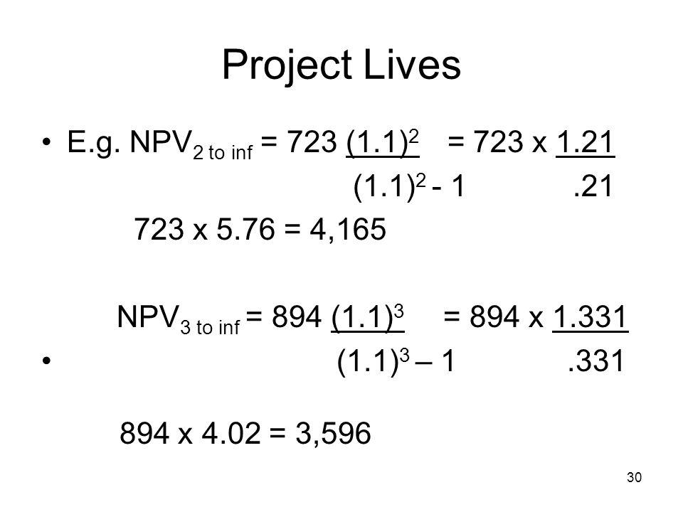 30 Project Lives E.g.