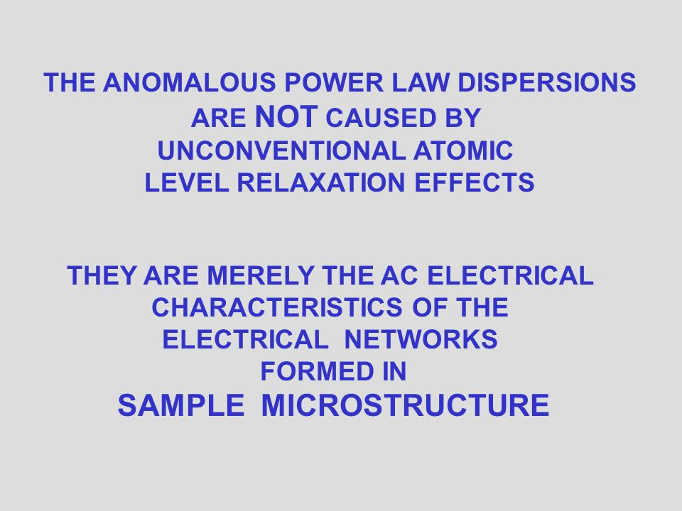 ELECTRICAL NETWORKS ANOMALOUS POWER LAW FREQUENCY DEPENDENCES ARE AC CHARACTERISTICS OF RANDOM ELECTRICAL NETWORKS FORMED BY SAMPLE MICROSTRUCTURE.