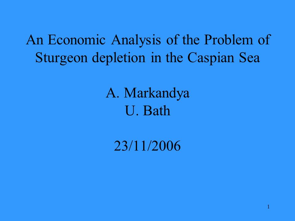 1 An Economic Analysis of the Problem of Sturgeon depletion in the Caspian Sea A.