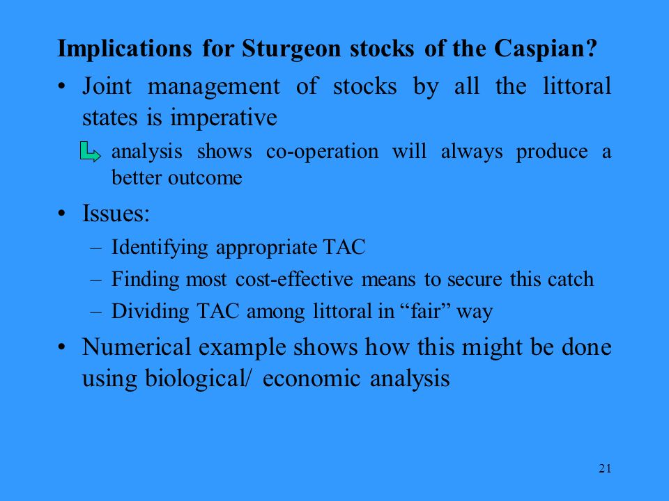21 Implications for Sturgeon stocks of the Caspian.