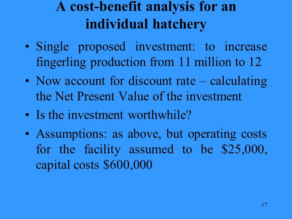 37 A cost-benefit analysis for an individual hatchery Single proposed investment: to increase fingerling production from 11 million to 12 Now account for discount rate – calculating the Net Present Value of the investment Is the investment worthwhile.