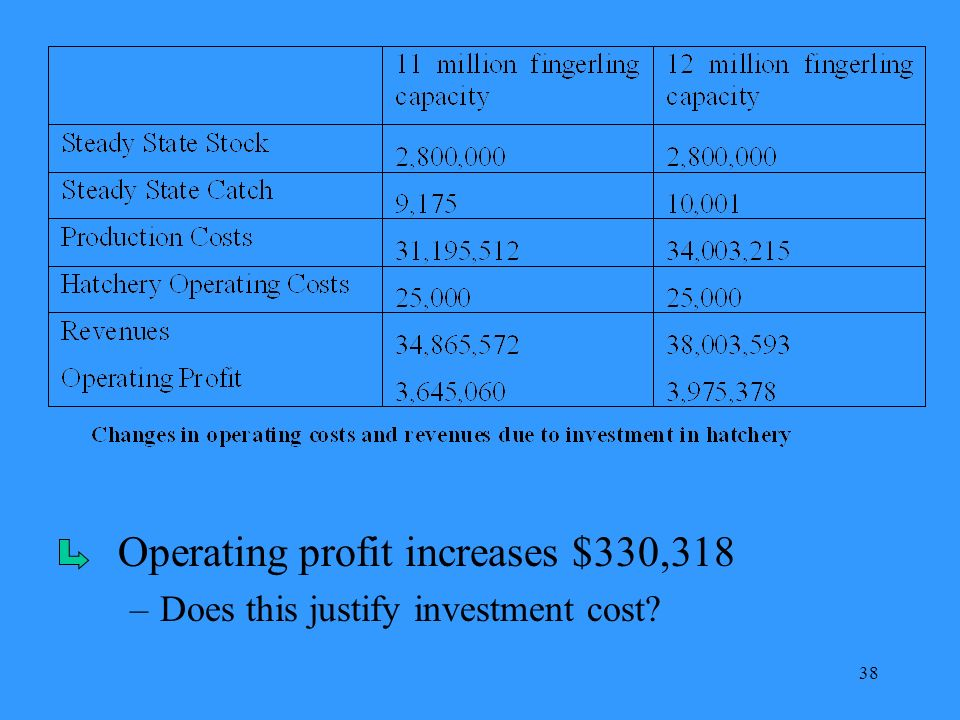 38 Operating profit increases $330,318 –Does this justify investment cost