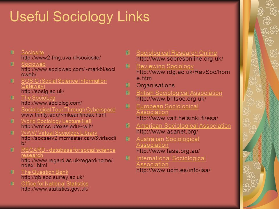 Useful Sociology Links Sociosite Sociosite http://www2.fmg.uva.nl/sociosite/ Socioweb Socioweb http://www.socioweb.com/~markbl/soci oweb/ SOSIG (Social Science Information Gateway) SOSIG (Social Science Information Gateway) http://sosig.ac.uk/ The SocioLog The SocioLog http://www.sociolog.com/ Sociological Tour Through Cyberspace Sociological Tour Through Cyberspace www.trinity.edu/~mkearl/index.html World Sociology Lecture Hall World Sociology Lecture Hall http://wnt.cc.utexas.edu/~wlh/ WWW Virtual Sociology Library WWW Virtual Sociology Library http://socserv2.mcmaster.ca/w3virtsocli b/ REGARD - database for social science research REGARD - database for social science research http://www.regard.ac.uk/regard/home/i ndex_html The Question Bank The Question Bank http://qb.soc.surrey.ac.uk/ Office for National Statistics Office for National Statistics http://www.statistics.gov.uk/ Sociological Research Online Sociological Research Online http://www.socresonline.org.uk/ Reviewing Sociology Reviewing Sociology http://www.rdg.ac.uk/RevSoc/hom e.htm Organisations British Sociological Association British Sociological Association http://www.britsoc.org.uk/ European Sociological Association European Sociological Association http://www.valt.helsinki.fi/esa/ American Sociological Association American Sociological Association http://www.asanet.org/ Australian Sociological Association Australian Sociological Association http://www.tasa.org.au/ International Sociological Association International Sociological Association http://www.ucm.es/info/isa/