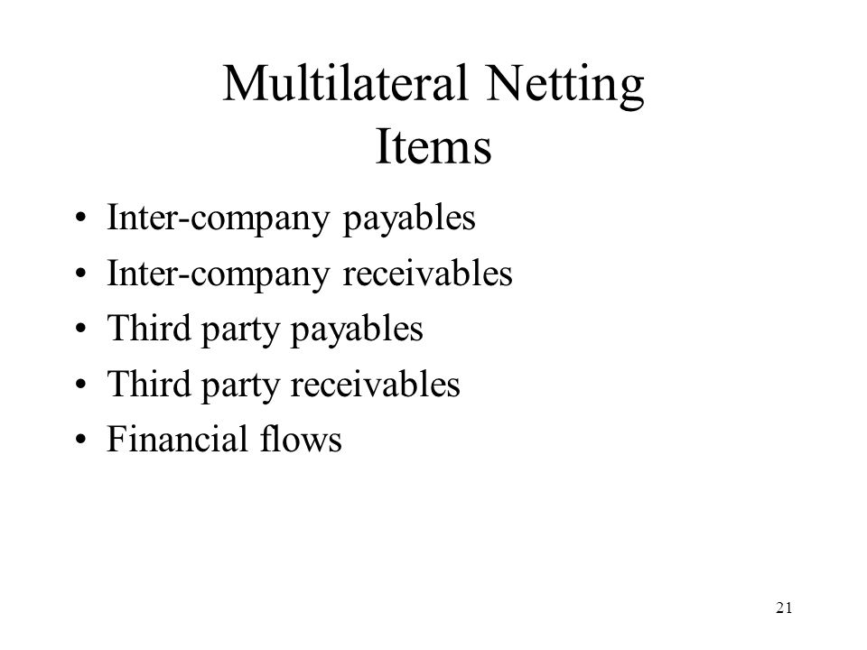 21 Multilateral Netting Items Inter-company payables Inter-company receivables Third party payables Third party receivables Financial flows