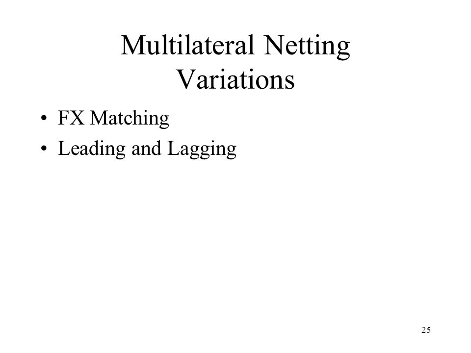 25 Multilateral Netting Variations FX Matching Leading and Lagging
