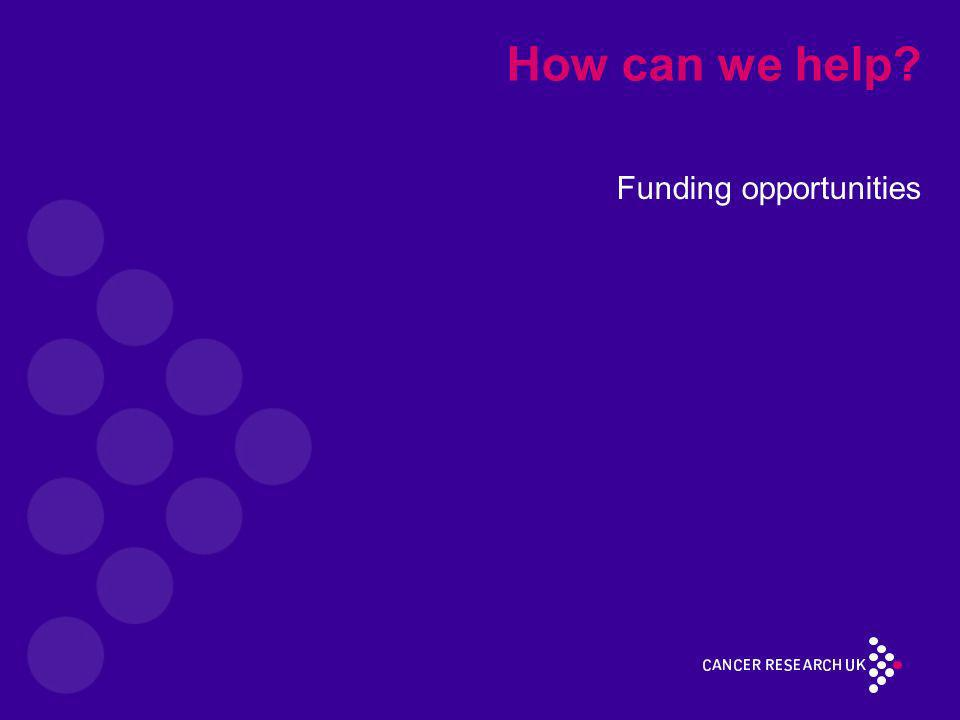 How can we help? Funding opportunities