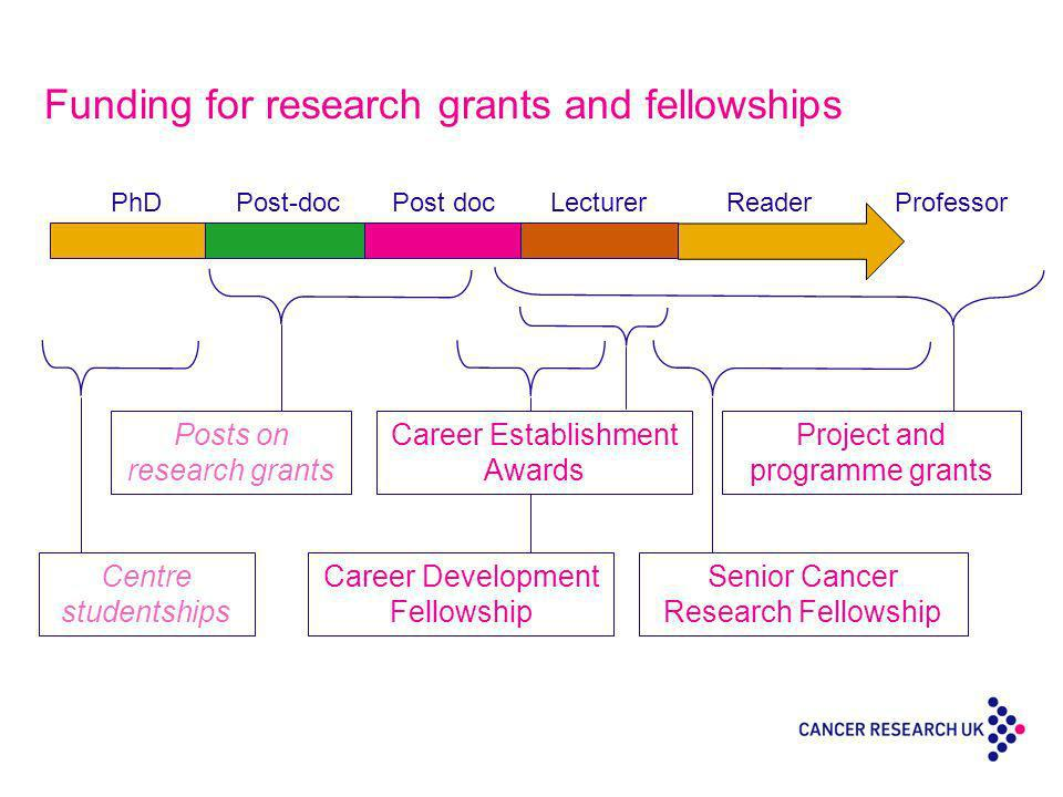 Funding for research grants and fellowships Centre studentships Career Development Fellowship Senior Cancer Research Fellowship PhDPost-docPost docLecturerReaderProfessor Posts on research grants Career Establishment Awards Project and programme grants