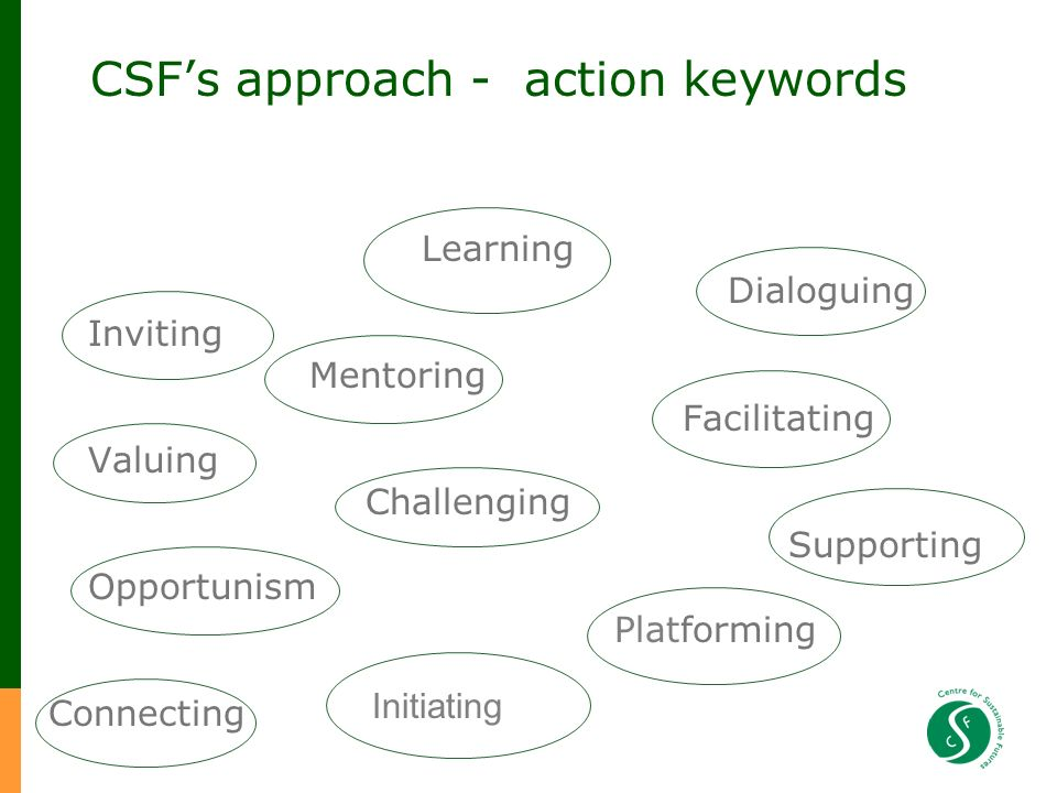 CSFs approach - action keywords Learning Dialoguing Inviting Mentoring Facilitating Valuing Challenging Supporting Opportunism Platforming Connecting Initiating