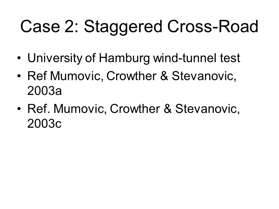 Case 2: Staggered Cross-Road University of Hamburg wind-tunnel test Ref Mumovic, Crowther & Stevanovic, 2003a Ref.